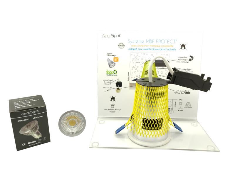 Présentoir Système MBF Protect®- Constructeur de Maisons Individuelles - AeroSpot®, fabricant français de spots encastrés LED sous isolant RT2012