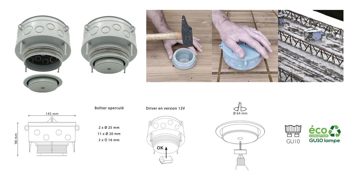 Système DAL - Spot Encastré Plafond dans Dalle Béton BBC RT2012