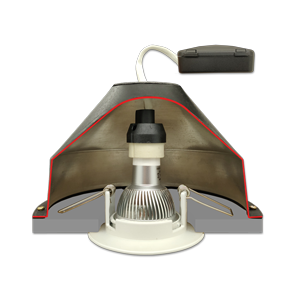 CAP GU10 – Capot Universel pour Spots encastrés sous isolant conforme RT2012 et conforme CPT 3693 du CSTB