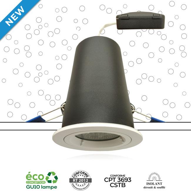 Système MBF CSTB - Spot encastré sous isolant conforme aux exigences du CPT 3693 du CSTB et RT2012 - AeroSpot®