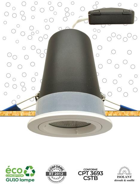 Système MBF OSB - Spot encastré sous isolant adapté pour une installation sur support bois - AeroSpot®