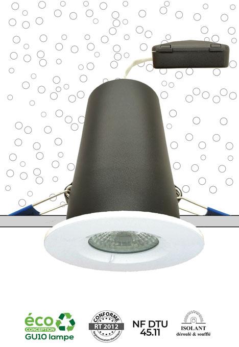 Système MBF Pro NF - spot encastré sous isolant conforme RT 2012 et NF DTU 45.11
