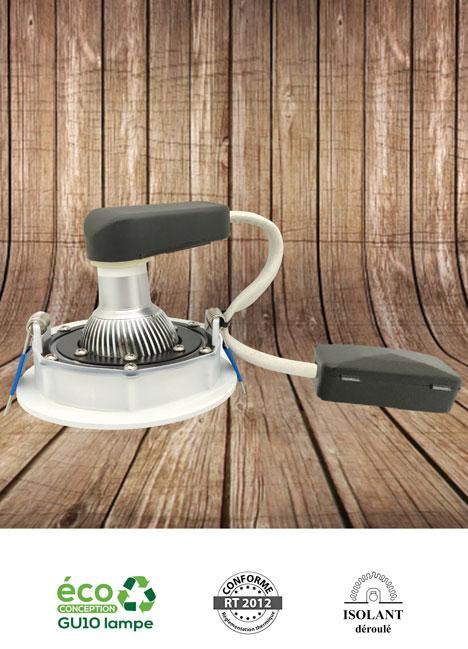 TRITON OSB - Spot encastré orientable 2x25° adapté pour une installation sur support bois et recouvrable d'isolant déroulé - AeroSpot®