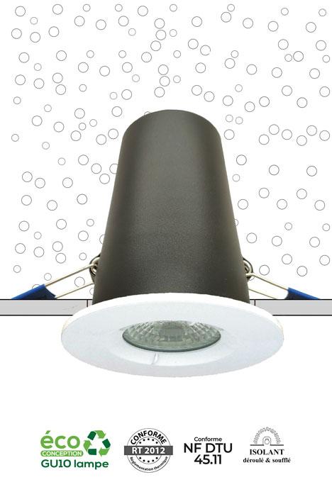 Système MBF Pro NF spot encastré sous isolant conforme RT 2012, NF DTU 45.11 et CPT3693